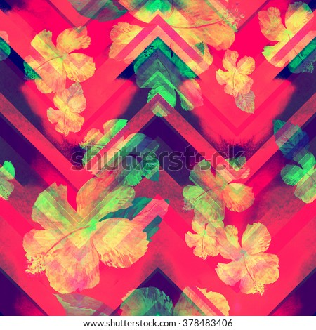 Vivid floral pattern on a zig zag beckround. Chevron watercolor zig zag pattern seamless. - stock photo