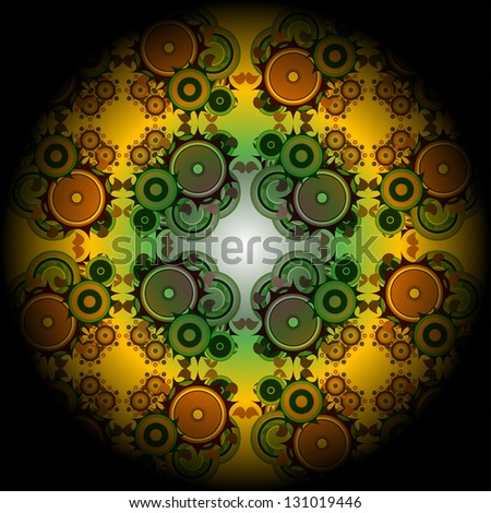 Vivid mandala wheel, digital fractal artwork, abstract illustration, raster - stock photo