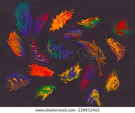 Vivid Paint Swirls - stock photo