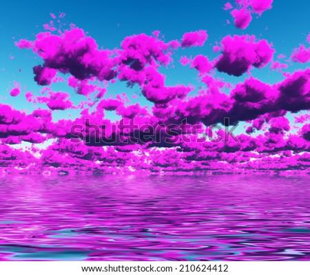 Vivid Purple Cloudscape and water - stock photo