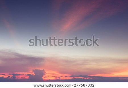Vivid sky and twilight dramatic clouds background - stock photo