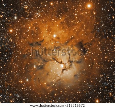 Vivid space nebula - supernova remnant. - stock photo