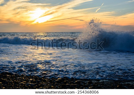 Vivid sunset over the Black Sea - stock photo