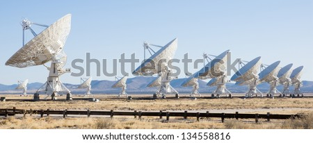 VLA (Very Large Array) - a group of radio telescopes in New Mexico (USA) - stock photo