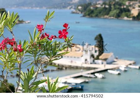 Vlacherna monastery Corfu island Greece summer season - stock photo