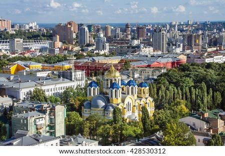 Vladimir Cathedral Kiev, top view - stock photo