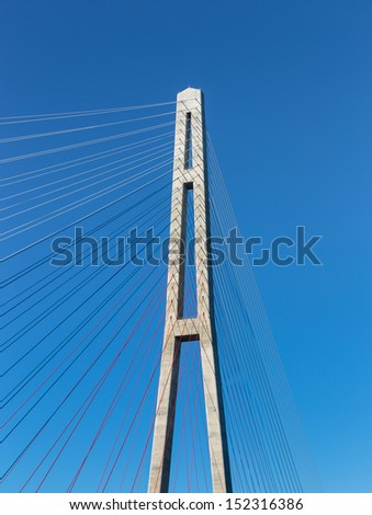 "VLADIVOSTOK, RUSSIA - AUGUST 31: Fragment of a cable stayed bridge ""Russky Bridge"". ""Russky Bridge"" was built in preparation for the APEC summit August 31, 2013 in Vladivostok, Russia."