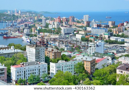 Vladivostok, Russia, June, 01, 2016. development of the city on the shores of the Gulf of Peter the Great