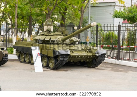 VLADIVOSTOK, RUSSIA - OCTOBER 2, 2015: Modern russian armored vehicles during the preparation for the exhibition.