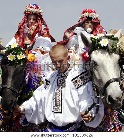 VLCNOV, CZECH REPUBLIC � MAY 27, 2007 - Radim Podskubka (on the right) with his company rides on horse as king of Ride of the kings on May 27, 2007, Vlcnov. Celebration is on UNESCO list.