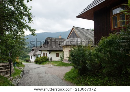 Vlkolinec - picturesque historical village with traditional houses, Slovakia - UNESCO World Heritage site - stock photo