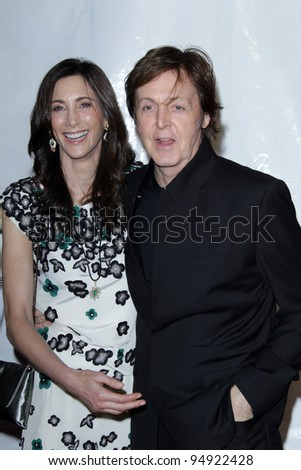 vLOS ANGELES - FEB 10:  Nancy Shevell, Paul McCartney arrives at the 2012 MusiCares Gala honoring Paul McCartney at LA Convention Center on February 10, 2012 in Los Angeles, CA - stock photo