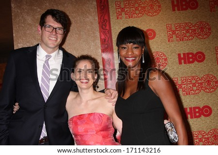 vLOS ANGELES - JAN 12:  Anna Chlumsky, Sufe Bradshaw at the HBO 2014 Golden Globe Party  at Beverly Hilton Hotel on January 12, 2014 in Beverly Hills, CA - stock photo