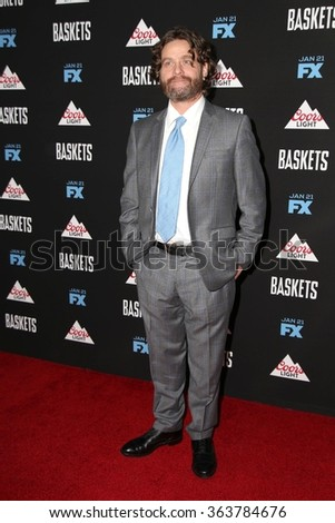 vLOS ANGELES - JAN 14:  Zach Galifianakis at the Baskets Red Carpet Event at the Pacific Design Center on January 14, 2016 in West Hollywood, CA - stock photo