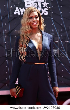vLOS ANGELES - JUN 28:  Laverne Cox at the 2015 BET Awards - Arrivals at the Microsoft Theater on June 28, 2015 in Los Angeles, CA - stock photo