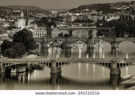 Vltava and bridges in Prague, Czech Republic - stock photo
