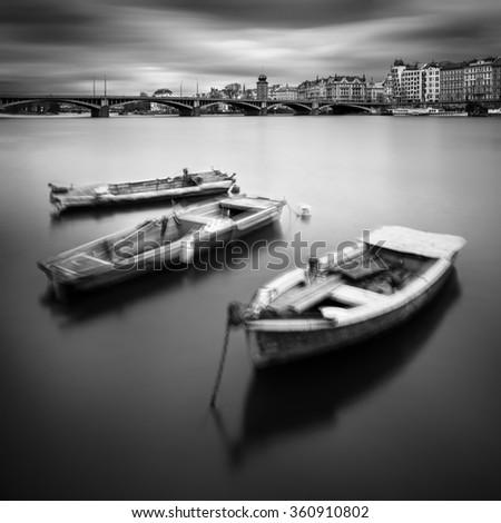 Vltava river boats during autumn time, Prague, Czech republic - stock photo