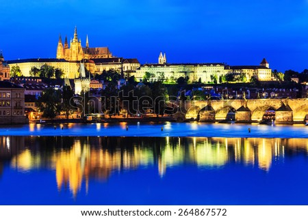 Vltava River, Charles Bridge and Prague Castle at twilight. Prague, Czech Republic - stock photo