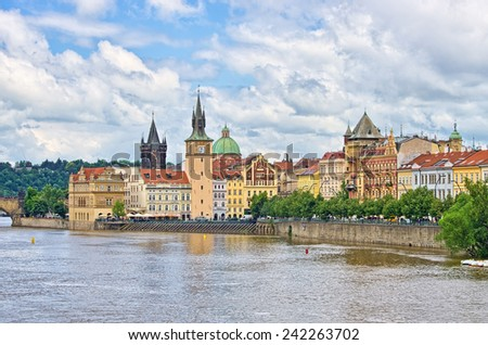 Vltava river in Prague - Czech Republic - stock photo
