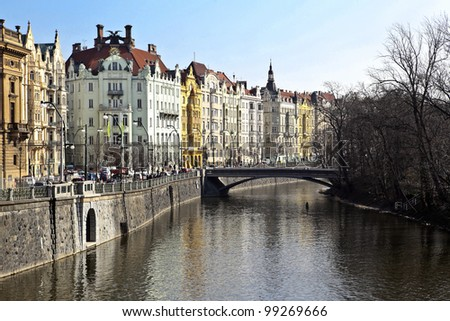 Vltava river in Prague, czech republic - stock photo