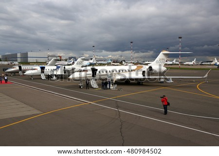 VNUKOVO, MOSCOW REGION, RUSSIA - SEPTEMBER 9, 2016: Bombardier Global 6000 and Challenger 650 shown during Jetexpo-2016 at Vnukovo international airport.