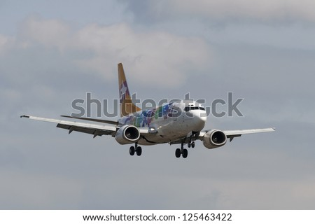 VNUKOVO, RUSSIA - SEPTEMBER 21: Aircraft operated by Sky Express, landing in Moscow airport in Vnukovo on September 21, 2012. The company Sky Express decided to stop all flights from 29 October 2011