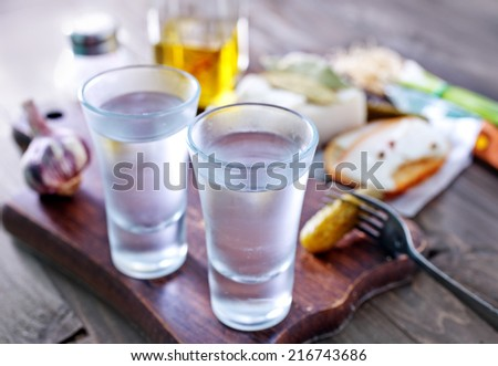 vodka and lard - stock photo