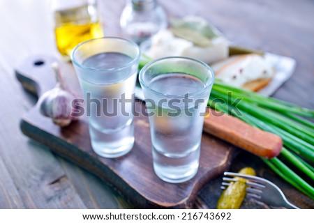 vodka and lard - stock photo