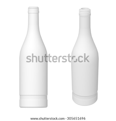 Vodka bottle template. 3D render. Different angles. - stock photo