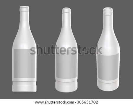 Vodka bottle template set. With places for label. 3D render. Different angles. - stock photo