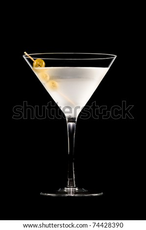 Vodka Martini in front of a black background - stock photo