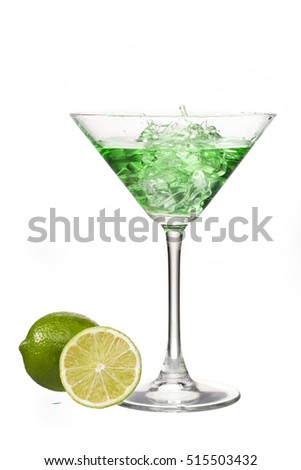 Vodka martini isolated on white background