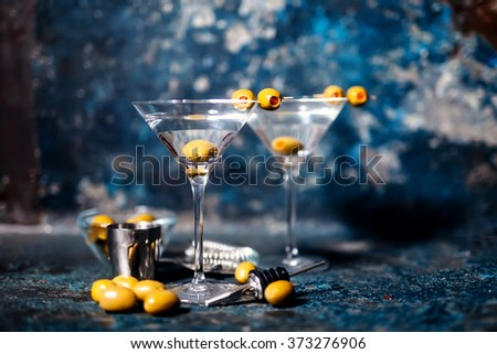 Vodka Martini with olive garnish. Long drink alcoholic cocktail.  - stock photo