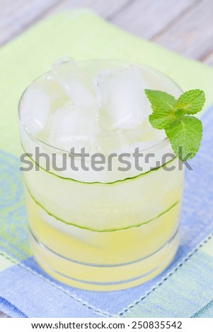 Vodka or Gin Cocktail Garnished with Mint - stock photo