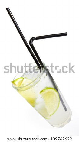 Vodka tonic cocktail isolated on white background