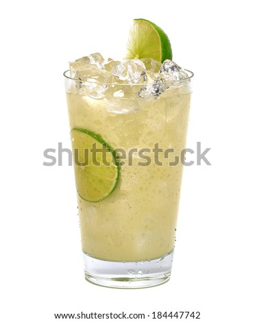 Vodka with lemon and crushed ice in glass on white background - stock photo