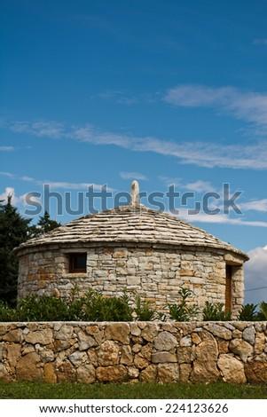 Vodnjan kazun, Croatian old stone cottage - stock photo