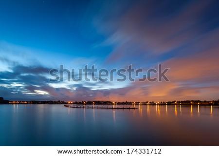 Vogelplas (Birds lake) at dusk, near Den Haag-Leidschendam, The Netherlands - stock photo