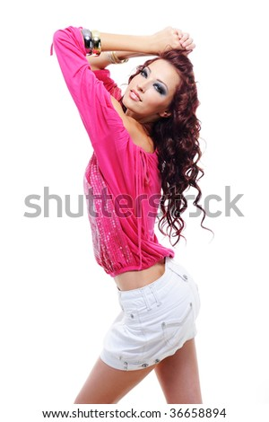 Vogue and modern style in the young woman's wear - beautiful and sensuality woman - stock photo
