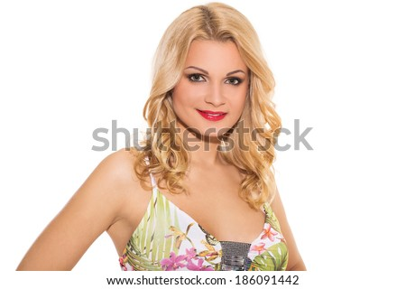 Vogue. Attractive girl in cute dress on a white background