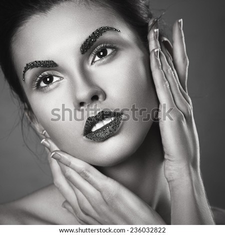 Vogue style glamour portrait of attractive young sensual woman. creative make up. - stock photo
