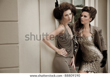 Vogue style photo of a two fashion ladies - stock photo