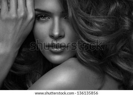 Vogue style photo of sensual woman - stock photo
