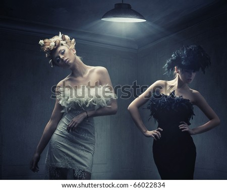 Vogue style photo of two fashion ladies - stock photo