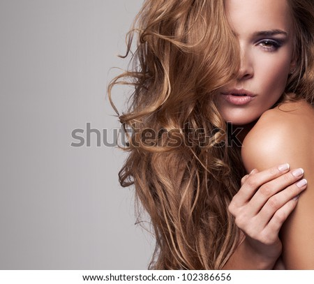 vogue style portrait of beautiful delicate woman - stock photo