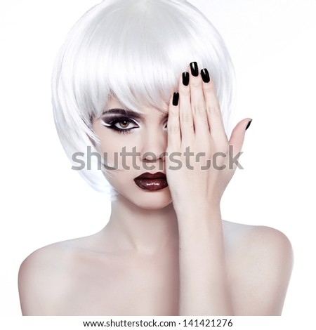 Vogue Style Woman. Fashion Beauty Woman Portrait with White Short Hair. Hairstyle. Manicured polish nails. - stock photo