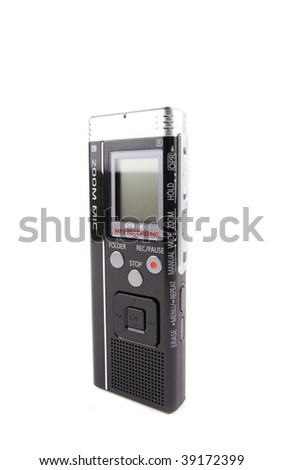 Voice recorder isolated on white background shot - stock photo