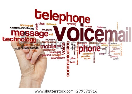 Voicemail word cloud concept with phone message related tags - stock photo