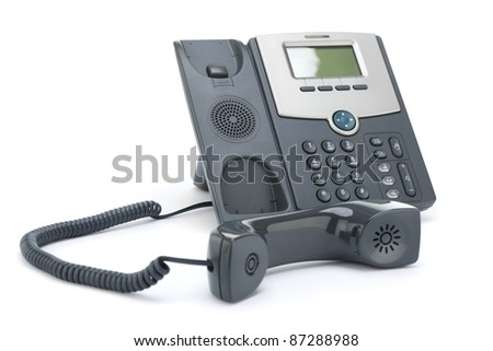 VOIP phone (IP phone) off the hook, isolated on a white background.