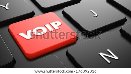 VOIP - Voice over Internet Protocol - on Red Button on Black Computer Keyboard.